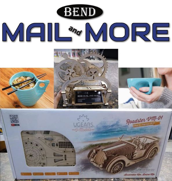 Bend Mail and More logo and new gift items available at their location.