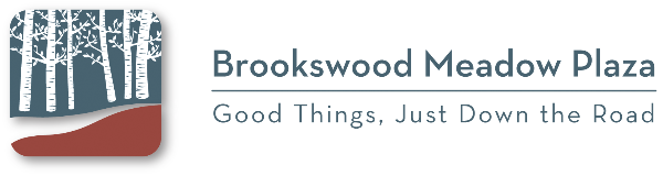 Brookswood Meadow Plaza's logo with Good Things Just Down the Road.