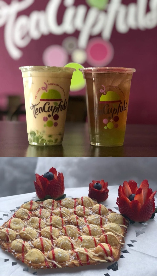 TeaCupFuls Bubble Tea drinks and a drizzled bubble waffle with decorative strawberries.
