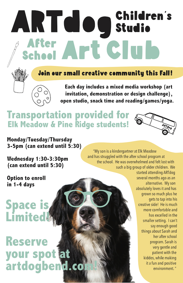 ARTdog Fall After School Art Club Registration Now Open!