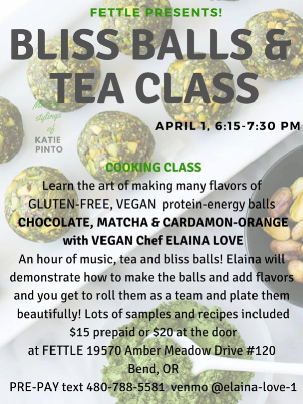 Fettle Botanic Bend's Bliss Balls & Tea Class flyer with class details.