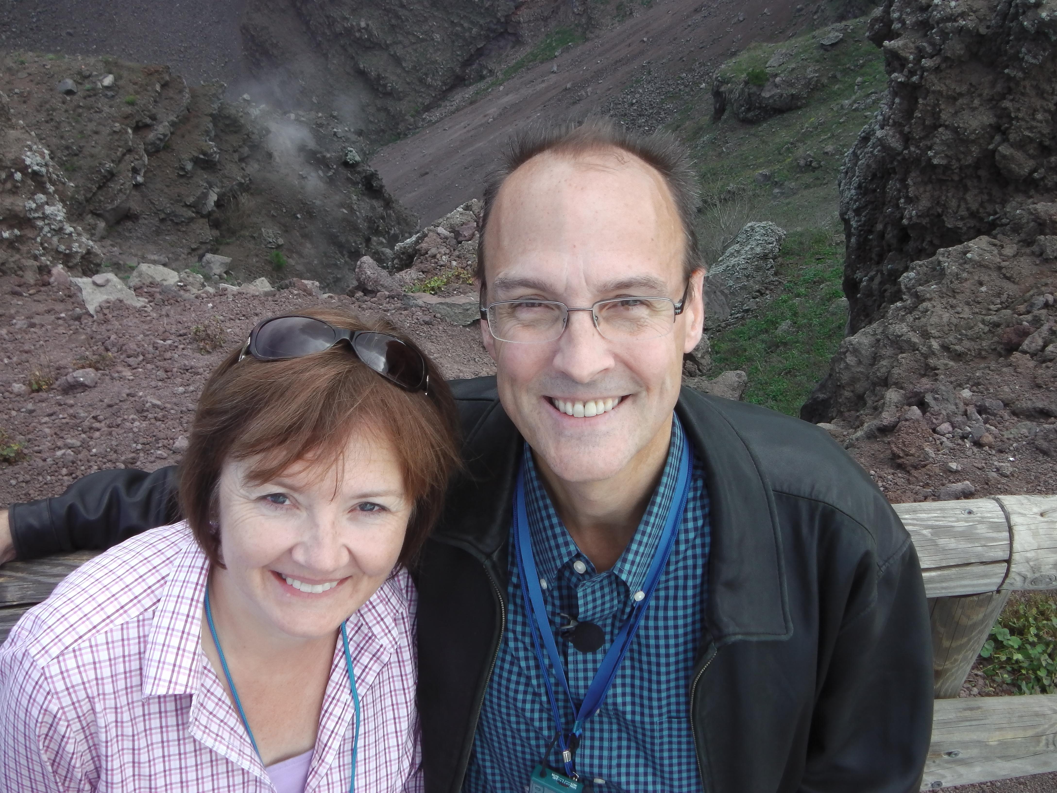 Vicki & Douglas in front of the crater of Vesuvius