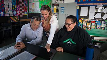 Facilitator with two educators