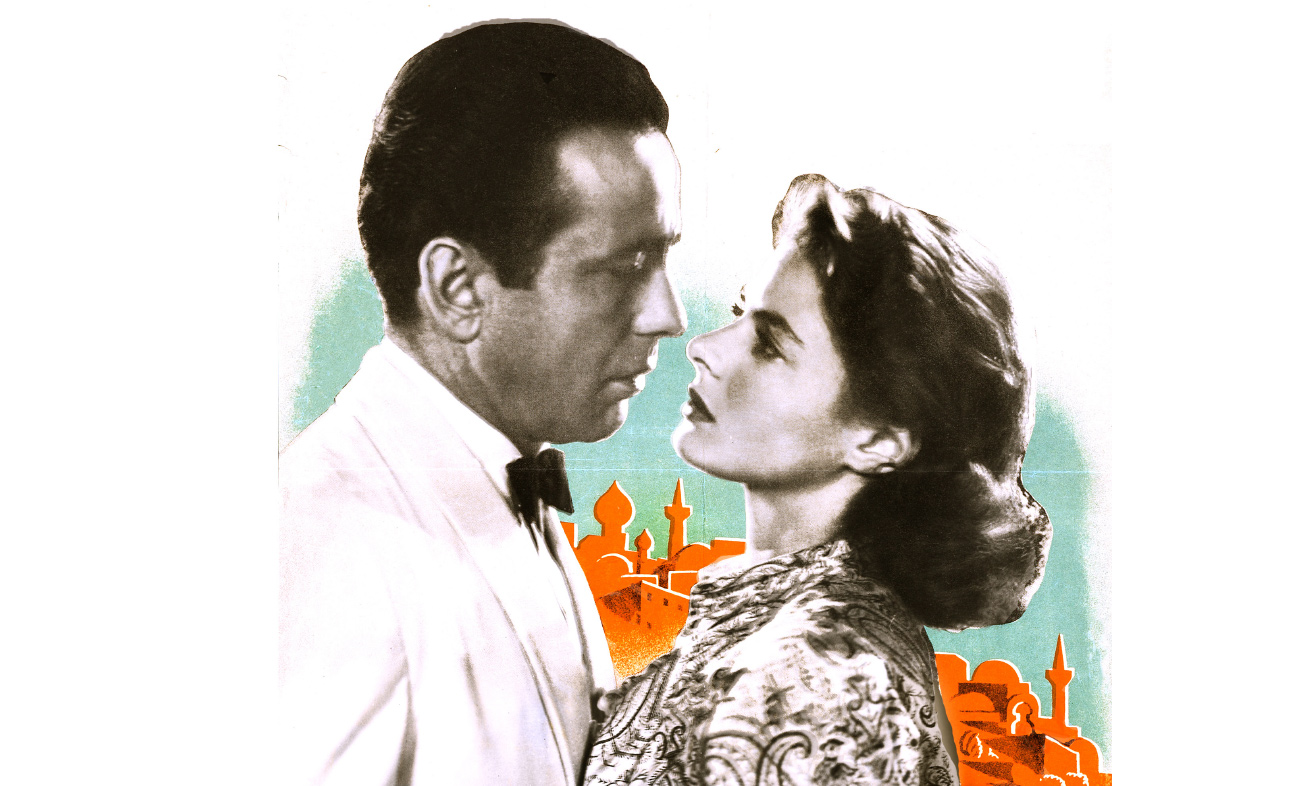 Image of Ingrid Bergman and Humphrey Bogart from CASABLANCA in front of a stylized illustration of the city's skyline.