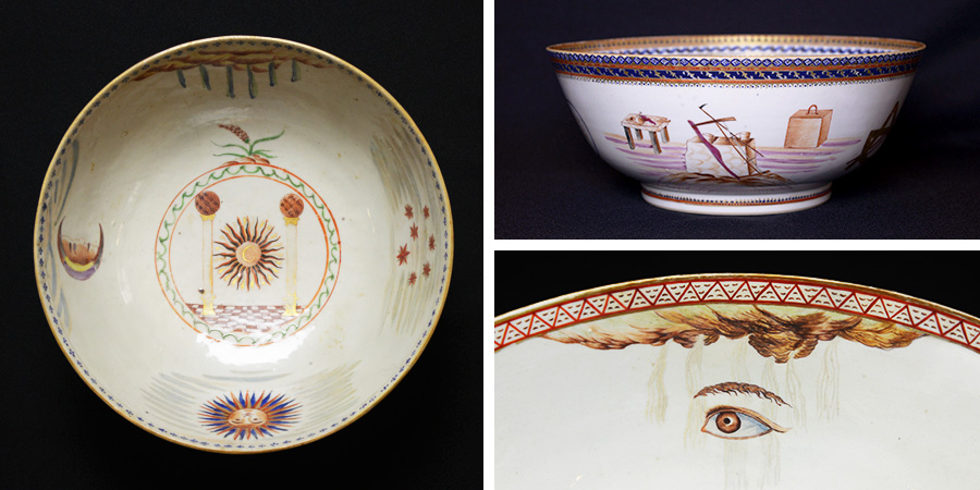 A photo collage of three antique Masonic ceramic bowls from the House of the Temple's collection
