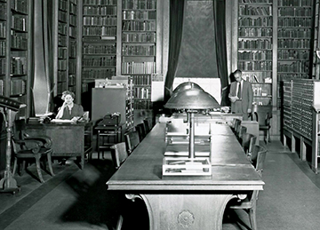 Ray Bake Harris and Ester Davis in the Reading Room of the Library