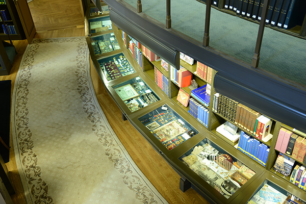 View of Library cases from the second level of the stacks