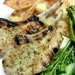 Minted Honey Yoghurt Cutlets with Potato Wedges