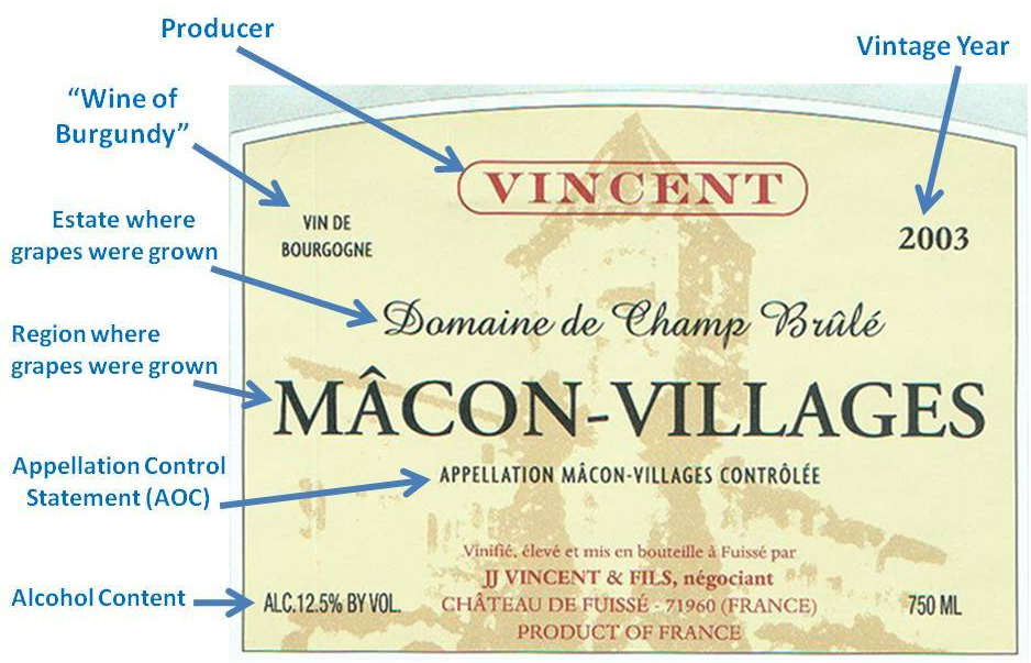 Burgundy Wine Label