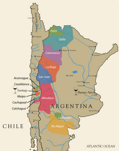 Chile and Argentina Wine Map