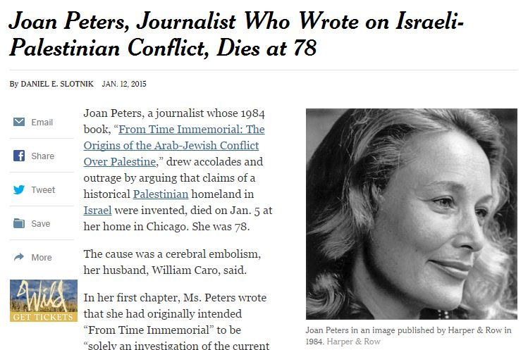 NYT peddles Joan Peters hoax