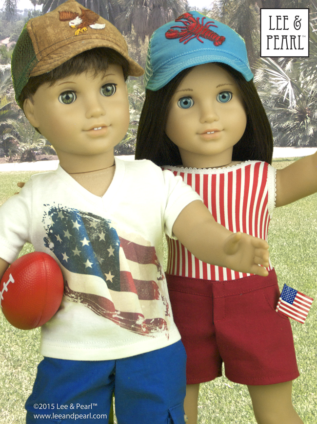 """At Lee & Pearl, we are proud of our patterns for American Girl™ dolls — and custom boy dolls!Our Jack's v-neck t-shirt was made usingLee & Pearl Pattern #1001: Unisex T-Shirts for 18"""" Dollsand his shorts were made usingL&P #1004: """"Boy Style"""" Pants and Cargo Shorts for 18"""" Dolls. Both Jack and Chrissa wear easy-to-maketrucker caps fromL&P #1008: Classic Ball Cap and Big Fat Trucker Hat for 18"""" Dolls.These patterns are available in our Etsy shop at https://www.etsy.com/shop/leeandpearl"""