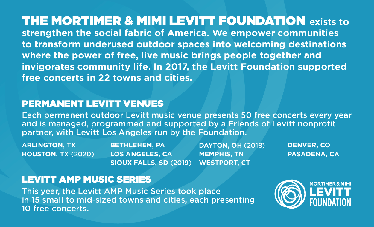 The Mortimer & Mimi Levitt Foundation exists to strengthen the social fabric of America through free, live music.