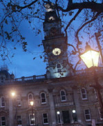 Dunedin Town hall lit in blue