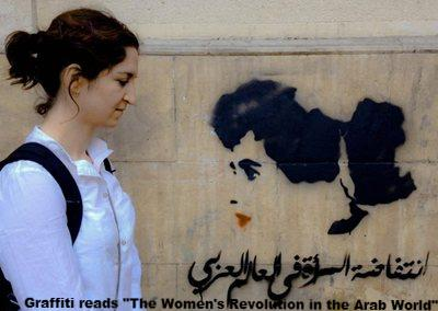 "Graffiti reads ""The Women's Revolution in the Arab World"""