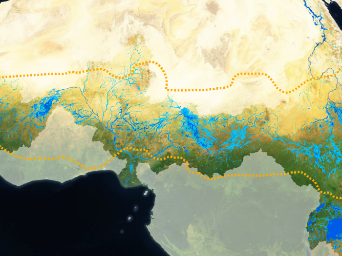 Map of wetlands in the Sahelian area of Africa