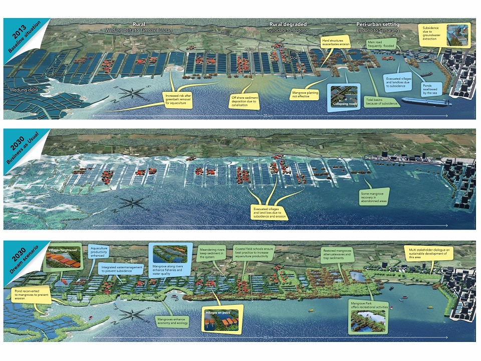 Graphic impression of possible future coastal scenarios in Demak