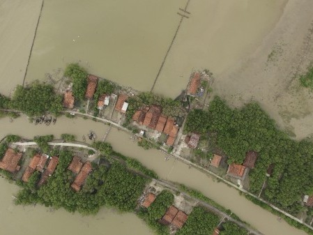 Aerial view of flooding in Indonesia