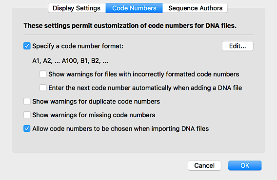 Define Code Numbers for a Collection