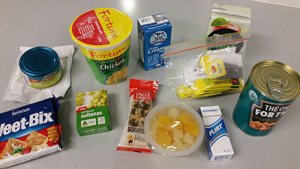 The contents of a crisis food pack for EMC guests