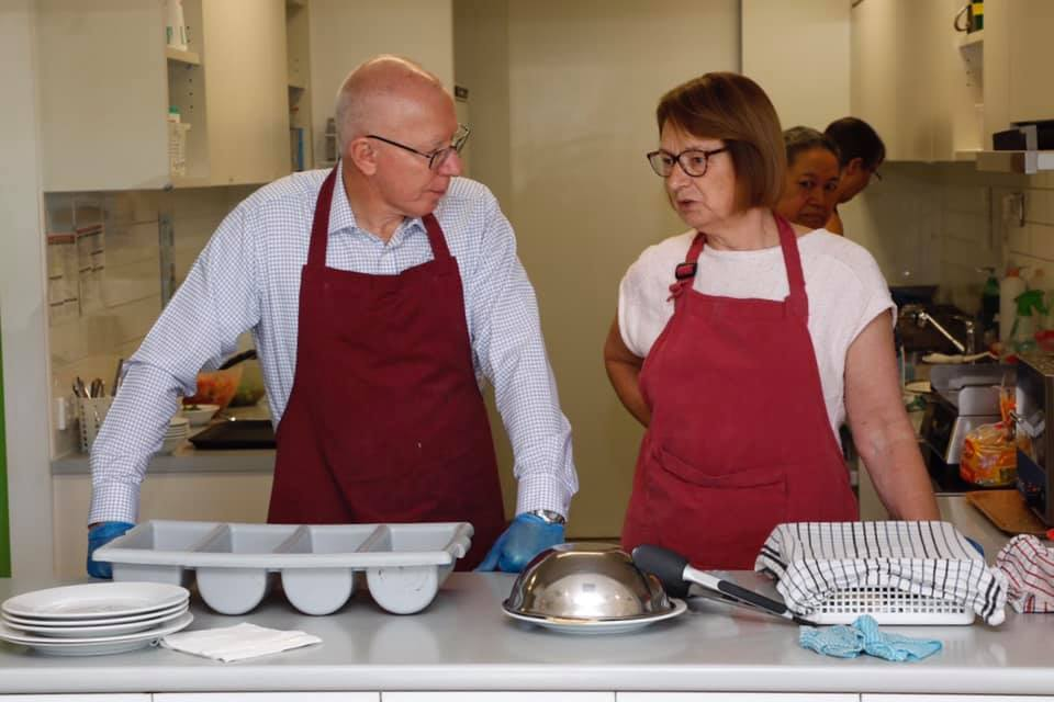 Governor-General talking with volunteer, Margaret Watt