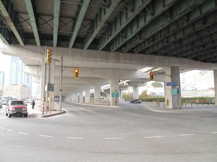 A view of the Gardiner's current condition at Lake Shore and Jarvis.