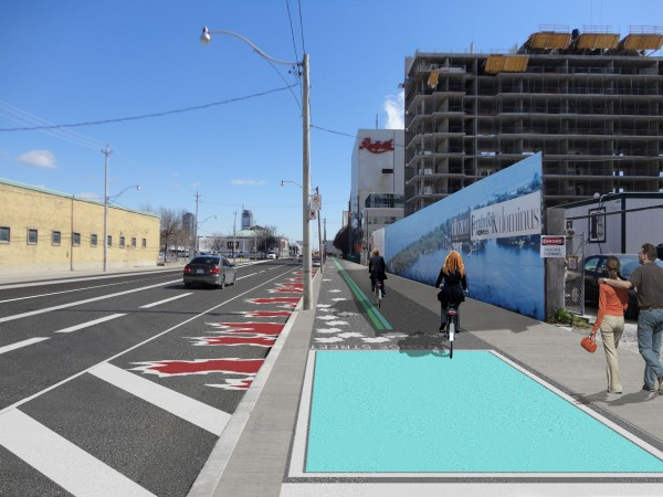 An artist's rendering of the completed Interim Martin Goodman Trail and sidewalk.