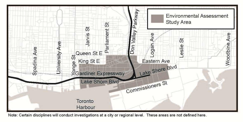 Gardiner Expressway East Study Area Map