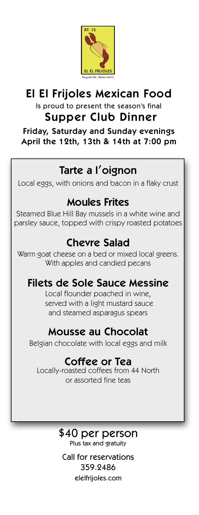 April's menu