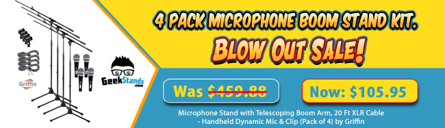 4 PACK MICROPHONE BOOM STAND KIT