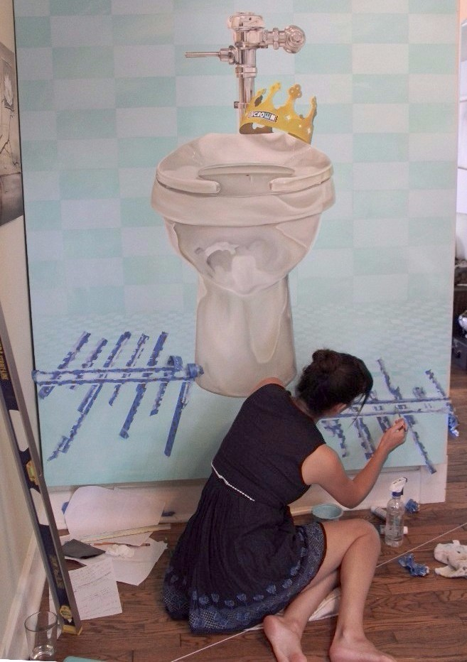 Contemporary Art by Kristin Llamas painting What is Honor? with toilet and burger king crown