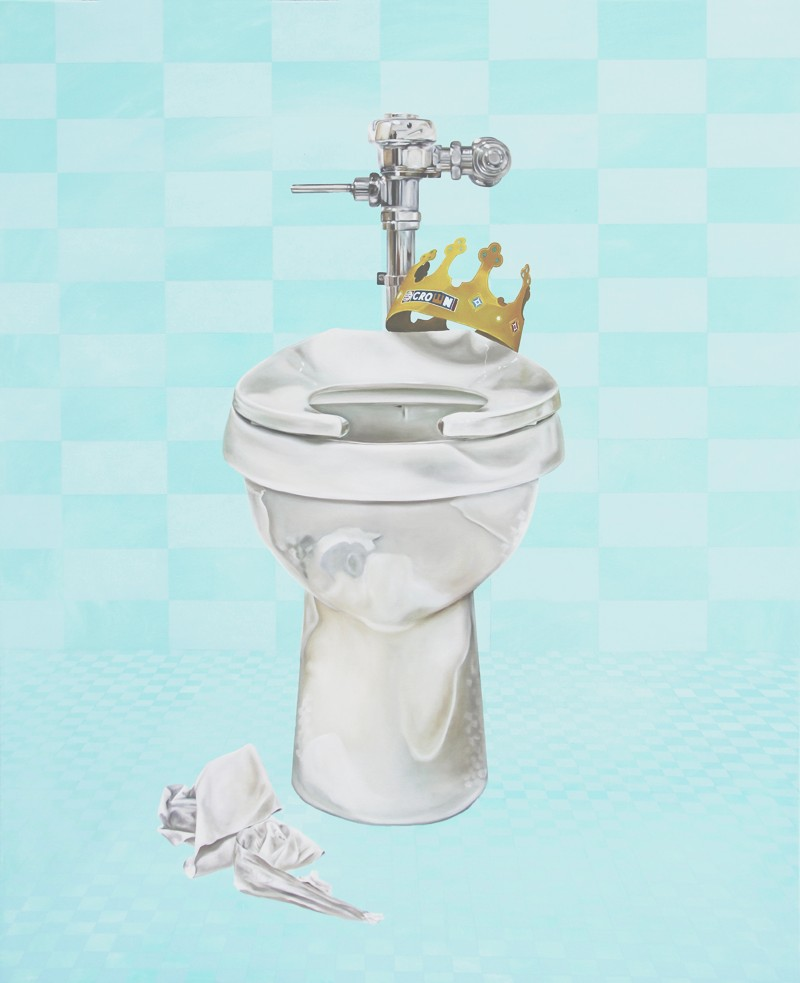 Contemporary Art by Kristin Llamas titled What is Honor? painting of toilet and burger king crown