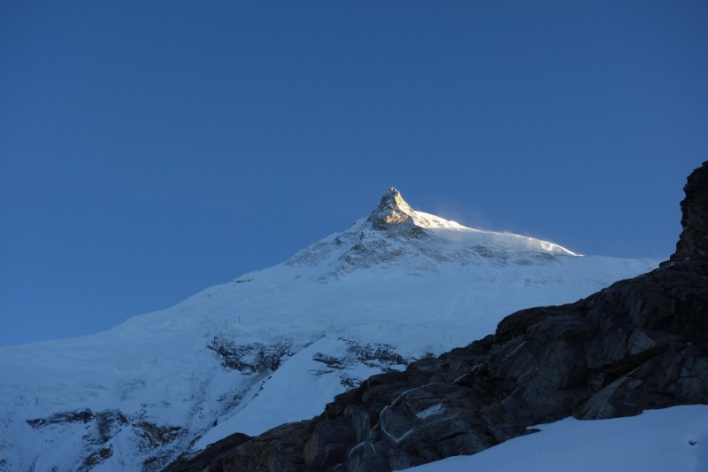 Sunset on Manaslu from C1