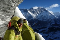 Camp 1 with Nawang and Phurba Tashi and Everest and Lhotse in the background