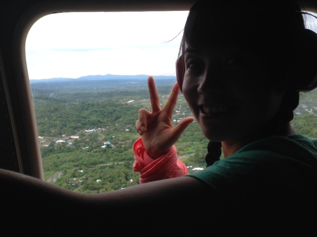 Jing in helicopter