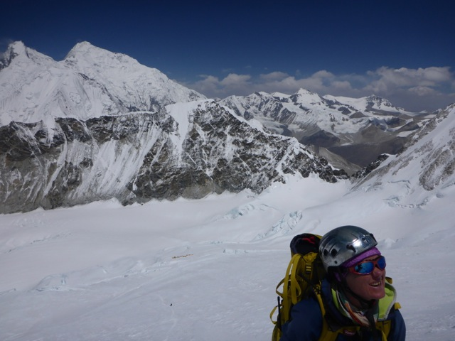 Suzanne with Everest and Lhotse