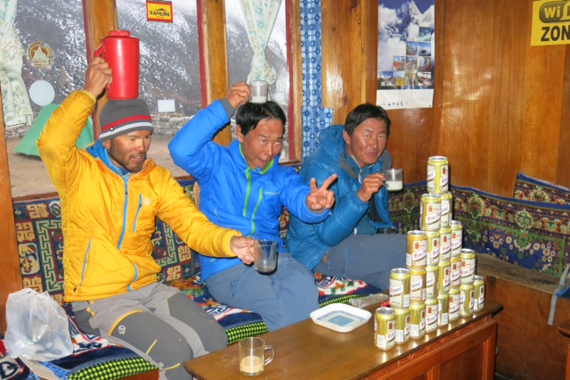 Kazu, Hiro and Shinji celebrating the end of the expedition in Dingboche