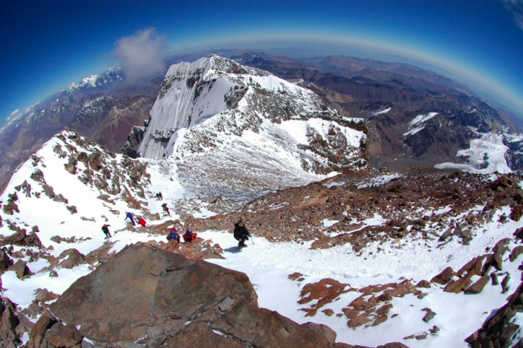 Looking down the route from Aconcagua summit