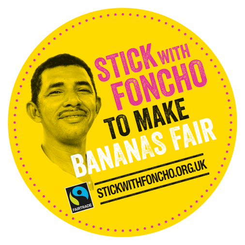 'Stick with Foncho to Make Bananas Fair' logo and link
