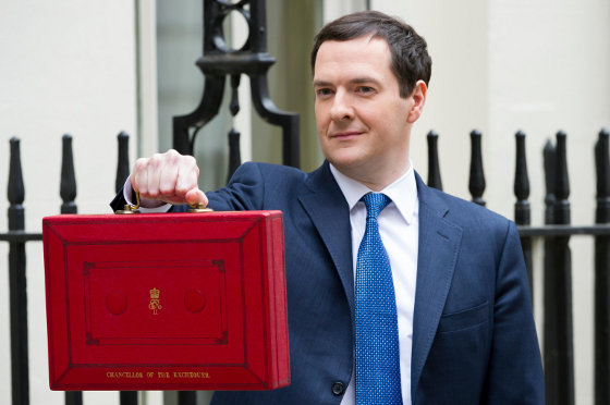 Photo of George Osborne, Chancellor of the Exchequer holding out his Red Dispatch Box