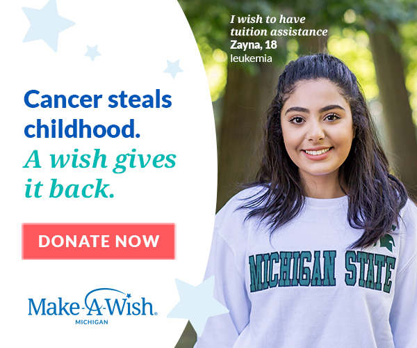 Zanya, 18, leukemia survivor and Michigan State University student, in part able to start her academic career after cancer because of assistance from Mike-A-Wish Michigan