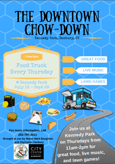 Join us for food, games, and music at Kennedy Park every Thursday between July 13th and September 28th from 11am-2pm!