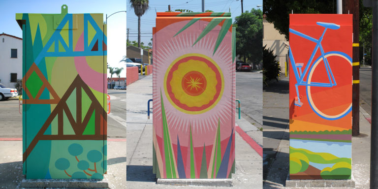 Local artists and graphic designers submit proposals for the City's Traffic Box Art Program. ioana_wrigley-murals