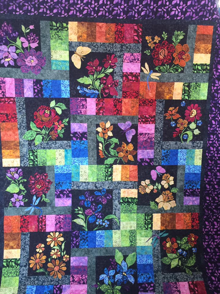 Rainbow Quilt with butterflies  and flowers