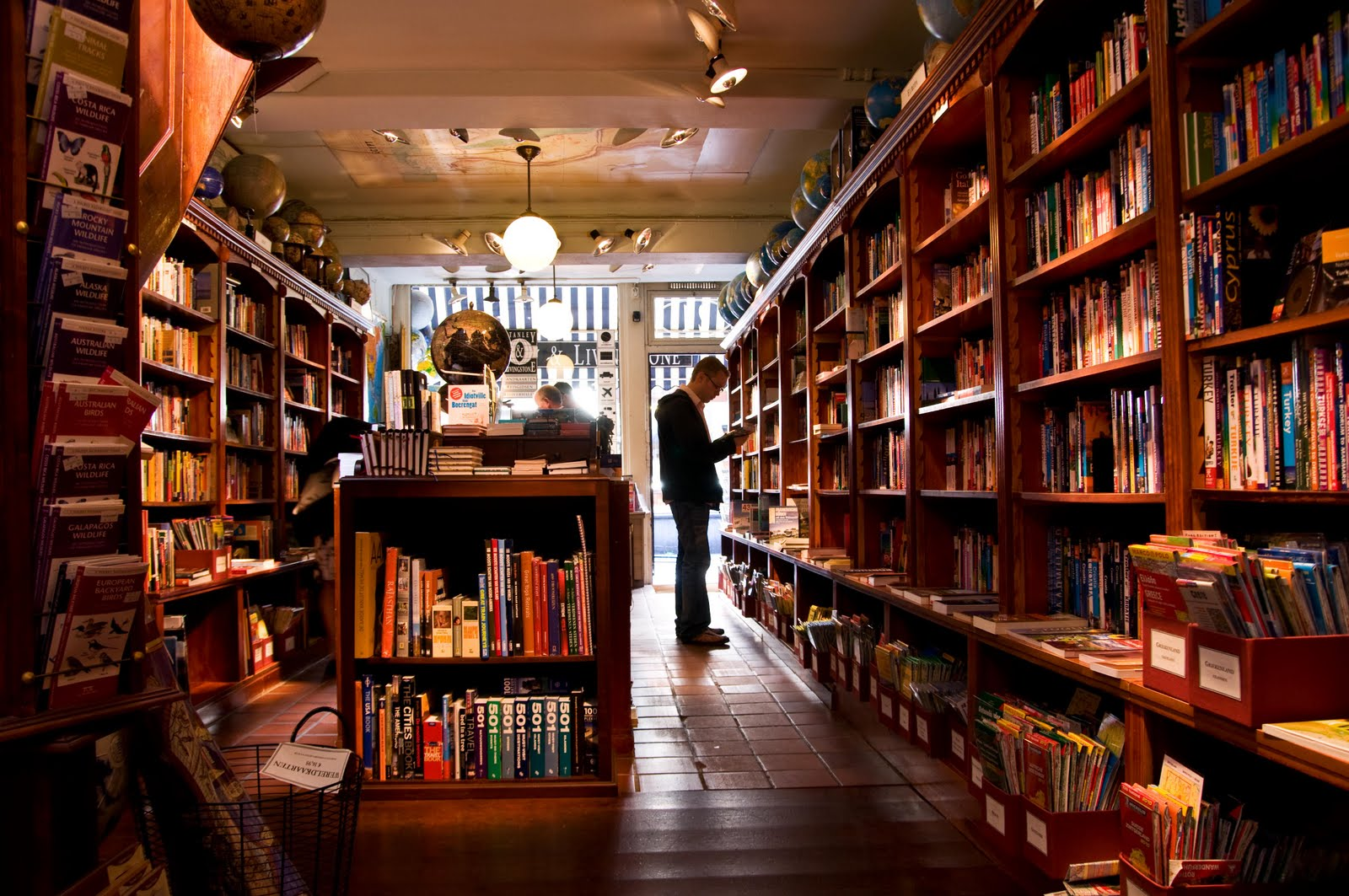man in bookstore
