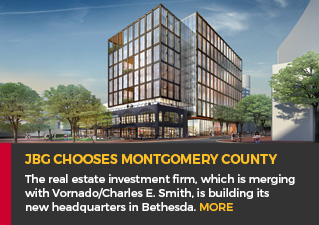JBG chooses MoCo - The real estate investment firm, which is merging with Vornado/Charles E. Smith, is building its new headquarters in Bethesda. Read more.