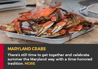 Maryland Crabs - There's still time to get together and celebrate summer the Maryland way with a time-honored tradition. MORE