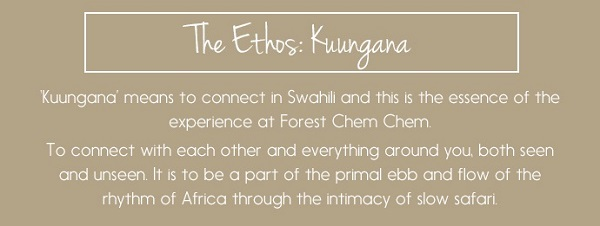 The Ethos: Kuungana - 'to connect' with each other, and everything around you.