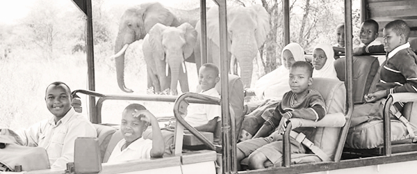 Children on their first safari