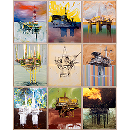 Keith Tyson, 9 Oil Rigs (Any Style), 2017